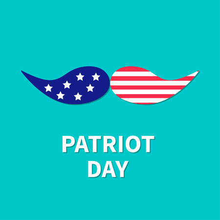 patriot: Mustaches with stars and stripes. Patriot Day background flat design