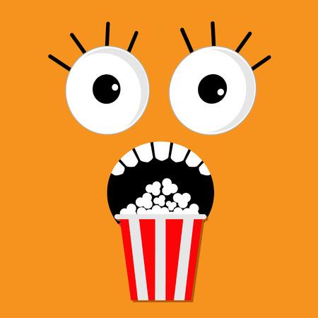 palomitas: Emociones cara de miedo abuchean palomitas. Icono de Cine en estilo diseño plano. Película de ilustración de fondo Vectores