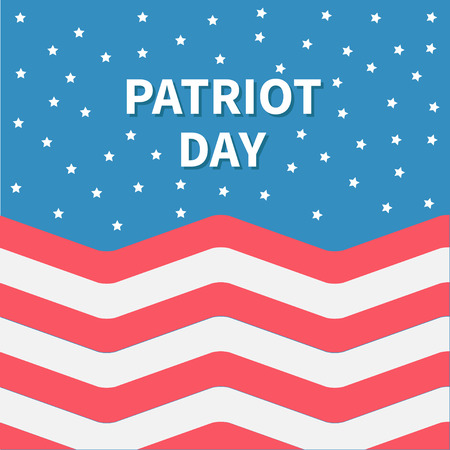 Star sky Red and white Strip ocean Patriot day Flat design Illustration