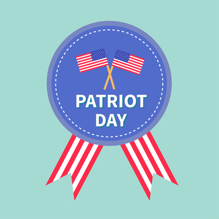 patriots: Badge with ribbons Award icon Star and strip flags Patriot day Flat design