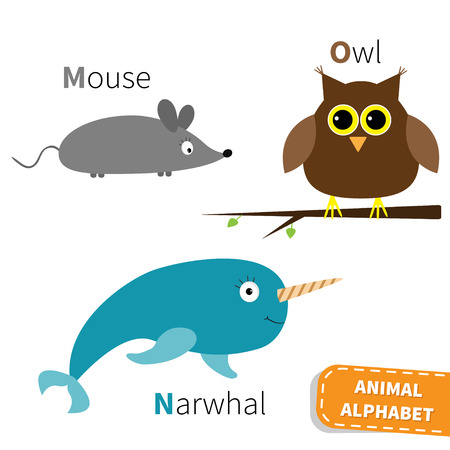 kids abc: Letter M N O Mouse Narwhal Owl Zoo alphabet. English abc with animals Education cards for kids Isolated White background Flat design Vector illustration Illustration