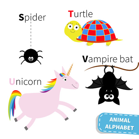 abc book: Letter S T U V Spider Turtle Unicorn Vampire bat Zoo alphabet. English abc with animals Education cards for kids Isolated White background Flat design Vector illustration