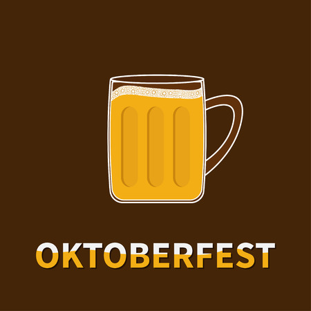 froth: Oktoberfest Big Beer glass mug with foam cap froth bubble. Flat design Vector illustration