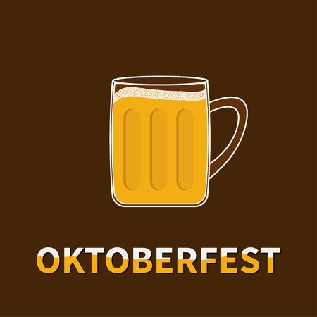 froth: Oktoberfest Big Beer glass mug with foam cap froth bubble. Flat design Vector illustration