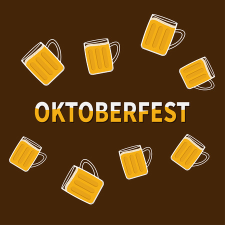 froth: Oktoberfest Beer glass mug with foam cap froth bubble. Frame Flat design Vector illustration