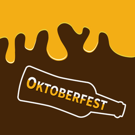 party down: Oktoberfest Beer bottle and Flowing down alcohol. Flat design Brown background Vector illustration