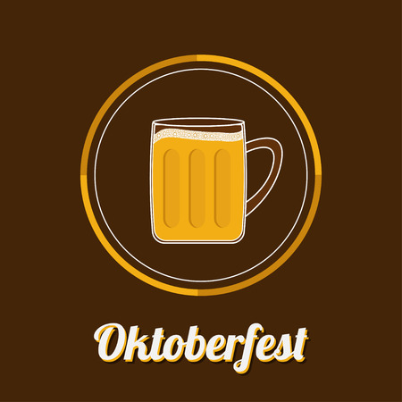 froth: Oktoberfest Beer glass mug with foam cap froth bubble. Big icon Flat design Vector illustration Illustration