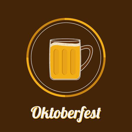 froth: Oktoberfest Beer glass mug with foam cap froth bubble. Big icon Flat design Vector illustration Illustration