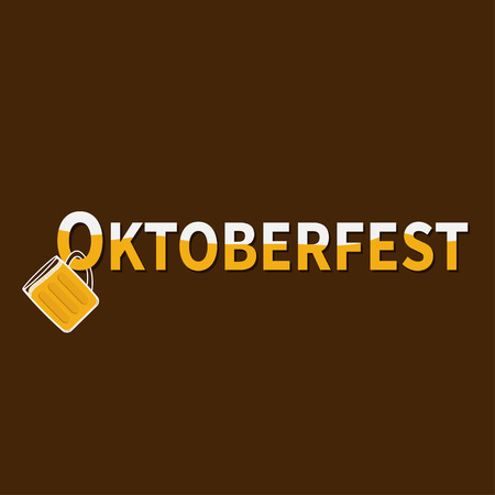 froth: Oktoberfest Beer glass mug with foam cap froth bubble. Hanging on text Flat design Vector illustration Illustration