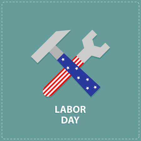 Labor day Wrench key and hammer icon with star stip Flat design Vector illustration Illustration