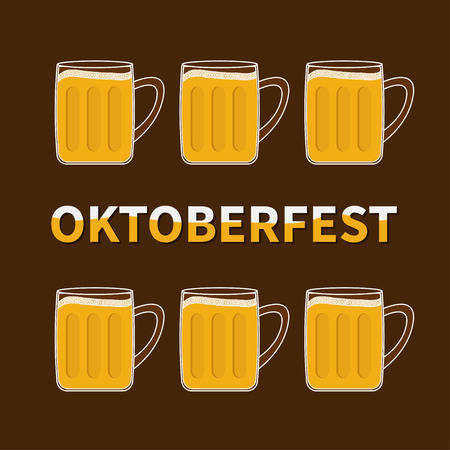 froth: Oktoberfest Six beer glass mug with foam cap froth bubble. Flat design Vector illustration