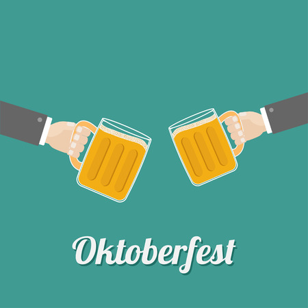 froth: Oktoberfest Two hands and clink beer glasses mug with foam cap froth bubble. Flat design Vector illustration