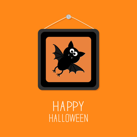 background picture: Bat in picture frame on nail. Happy Halloween card. Orange background Flat design Vector illustration Illustration