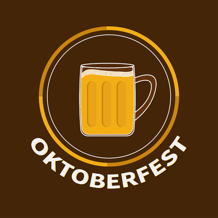 froth: Oktoberfest Beer glass mug with foam cap froth bubble. Big round icon Flat design Vector illustration Illustration