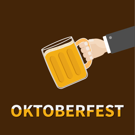 froth: Oktoberfest Hand and clink beer glasses mug with foam cap froth bubble. Brown background Flat design Vector illustration