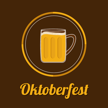 froth: Oktoberfest Beer glass mug with foam cap froth bubble. Round icon Flat design Vector illustration Illustration