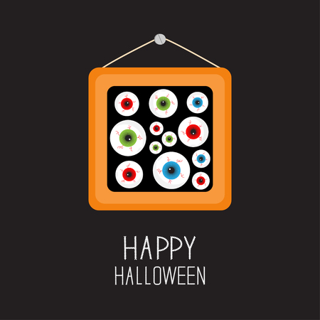 balck: Picture frame Eyeballs with bloody streaks. Happy Halloween card.  Balck background Flat design. Vector illustration