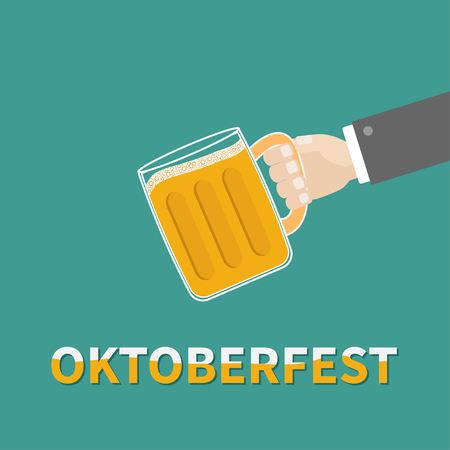 froth: Oktoberfest Hand and clink beer glasses mug with foam cap froth bubble. Flat design Vector illustration