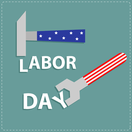 jornada de trabajo: Clave d�a Llave de trabajo feliz y un martillo con la estrella stip Dise�o plano ilustraci�n vectorial