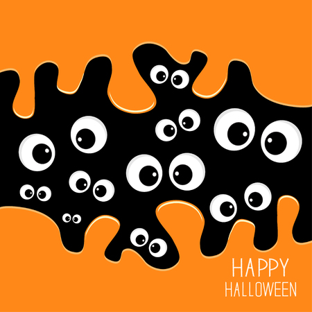 yeux: Carte yeux Halloween. Fond Spooky design plat. Vector illustration Illustration