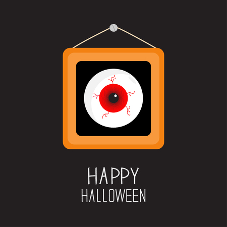 balck: Picture frame hanging on the wall Red eyeball with bloody streaks. Happy Halloween card. Balck background Flat design. Vector illustration