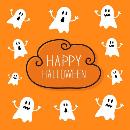 かわいい不気味な幽霊。ハッピー ハロウィン カード。クラウド フレーム オレンジ色の背景のフラット デザイン。ベクトル図