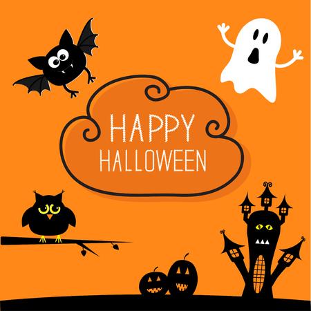 家、カボチャ、フクロウ、コウモリ、幽霊のお化け。雲空のハロウィン カード。オレンジ色の背景フラット デザイン ベクトル イラスト。