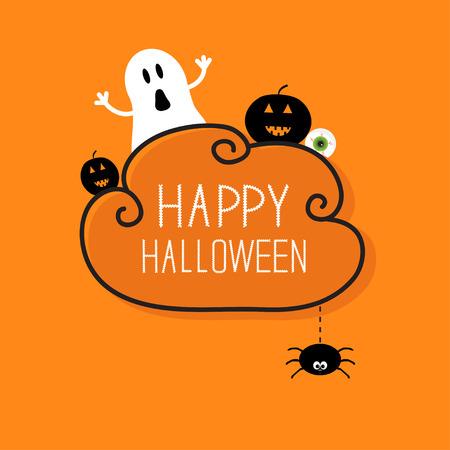 calabaza: Fantasma, calabaza, globo del ojo, araña colgando. Tarjeta feliz Halloween. Marco de la nube Fondo anaranjado Diseño plano. Ilustración vectorial Vectores