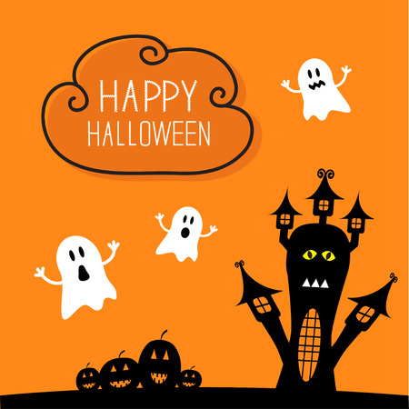 Haunted house, pumpkins and ghost. Cloud in the sky Halloween card. Orange background Flat design Vector illustration.