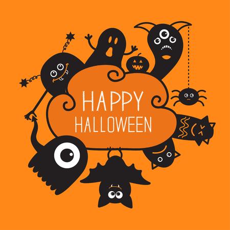 幸せなハロウィーンの countour 落書き。ゴースト、コウモリ、カボチャ、クモ、モンスター セット。シルエット クラウド フレーム。オレンジ色の背