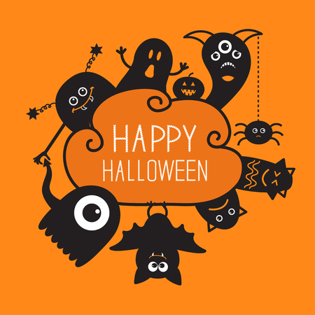 Happy Halloween countour doodle. Ghost, bat, pumpkin, spider, monster set. Silhouette Cloud frame. Orange background Flat design Vector illustration