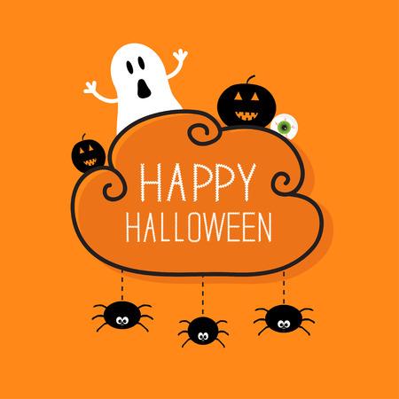globo ocular: Fantasma, calabaza, globo ocular, tres arañas colgantes. Tarjeta feliz Halloween. Marco de la nube Fondo anaranjado Diseño plano. Ilustración vectorial