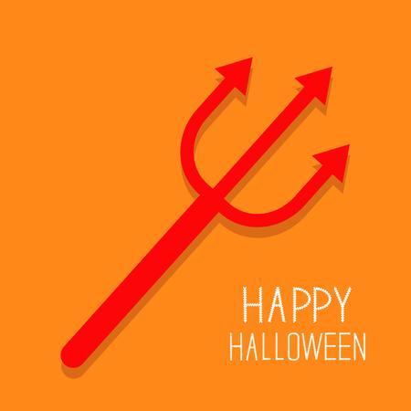 Red evil trident. Happy Halloween card. Flat design Orange background Vector illustration Illustration