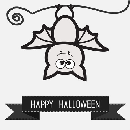 Cute bat and black ribbon.  Contour outline animal. White background  Happy Halloween card. Flat design. Vector illustration
