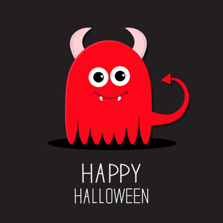 fangs: Cute red evil monster with horns and fangs. Happy Halloween card. Flat design Black background Vector illustration