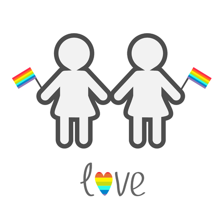 sex discrimination: Gay marriage Pride symbol Two contour women with rainbow flags  Love heart LGBT icon Flat design Vector illustration
