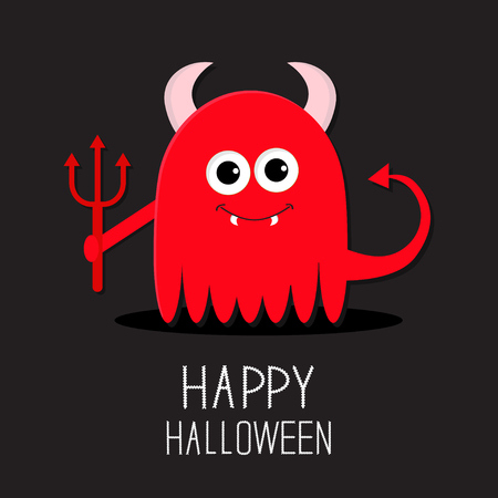 fangs: Cute red evil monster with horns, fangs and trident. Happy Halloween card. Flat design Black background Vector illustration