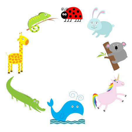 mariquitas: Marco lindo del animal. Fondo del bebé. Mariquita, koala, ballena, conejo, unicornio, cocodrilo, jirafa y la iguana. Diseño plano Vector ilustración