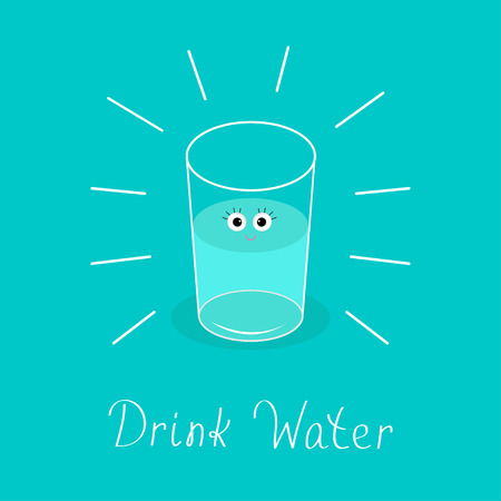 blue glass: Big shining glass with eyes. Drink water Baby Infographic. Flat design. Vector illustration. Illustration