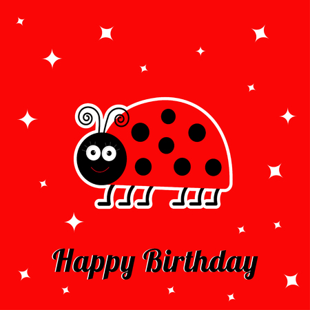 lady bug: Happy Birthday card with cute lady bug ladybird insect. Baby background Flat design Vector illustration