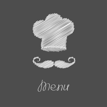 big hat: Chef hat and big mustache. Menu card. Flat design style. Dark background Scribble effect Vector illustration. Illustration