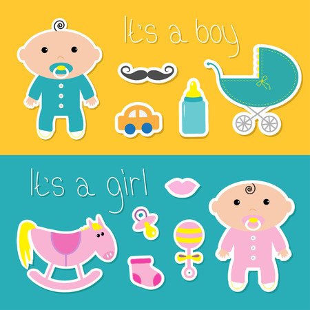 little boy and girl: Its a boy girl banner set Baby shower card with bottle, horse, rattle, pacifier, sock, car, mustaches, lips, carriage. Cute background. Flat design Vector illustration