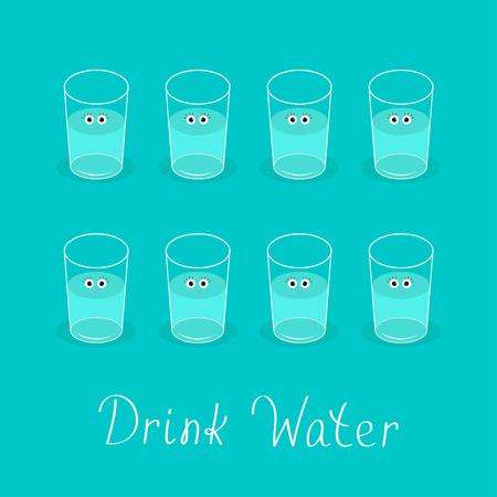 vasos de agua: Beber 8 vasos de agua. Cara linda con los ojos concepto de estilo de vida saludable. Infografía. Diseño plano. Ilustración del vector.
