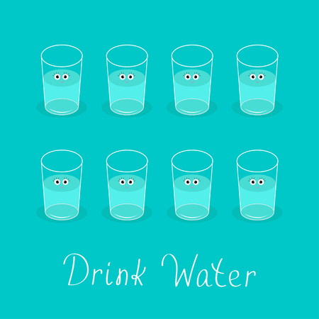 Drink 8 glasses of water. Cute face with eyes Healthy lifestyle concept. Infographic. Flat design. Vector illustration.