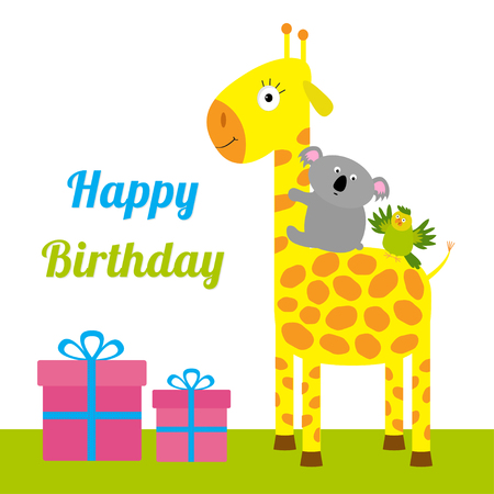 cute text box: Happy Birthday card with cute giraffe, koala and parrot. Giftbox set Baby background Flat design Vector illustration