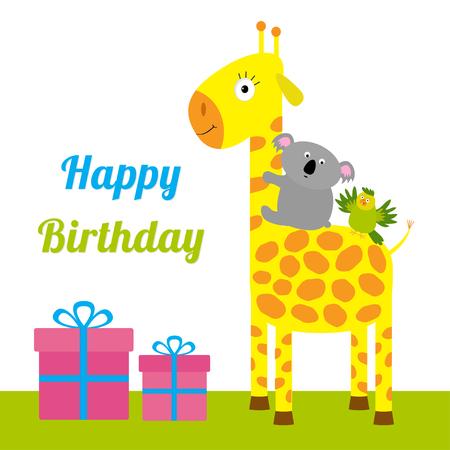 lindo: Tarjeta del feliz cumpleaños con lindo jirafa, koala y el loro. Giftbox establecido Fondo del bebé Diseño plano Vector ilustración Vectores