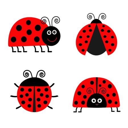 Ladybug Ladybird icon set. Baby background. Funny insect. Flat design Isolated Vector illustration