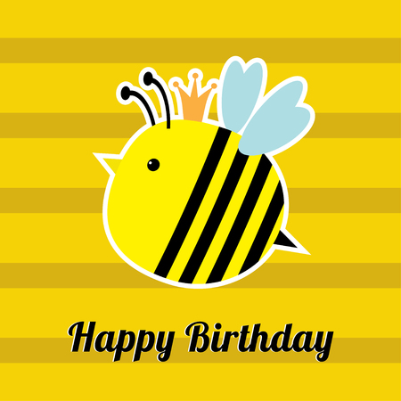 bee party: Happy Birthday card with cute bee insect. Baby background Flat design Vector illustration