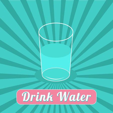motivation icon: Drink water. Starburst on blue background. Infographic. Flat design. Vector illustration