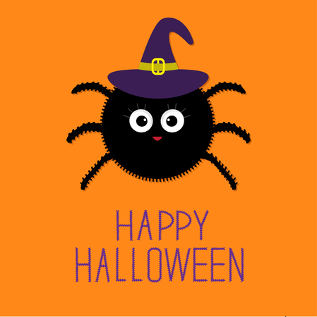 cute cards: Cute fluffy spider in witch hat. Happy Halloween card. Flat design Vector illustration.